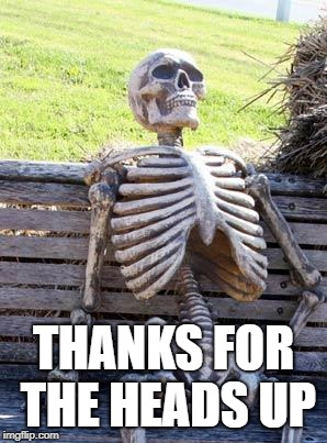 Waiting Skeleton Meme | THANKS FOR THE HEADS UP | image tagged in memes,waiting skeleton | made w/ Imgflip meme maker
