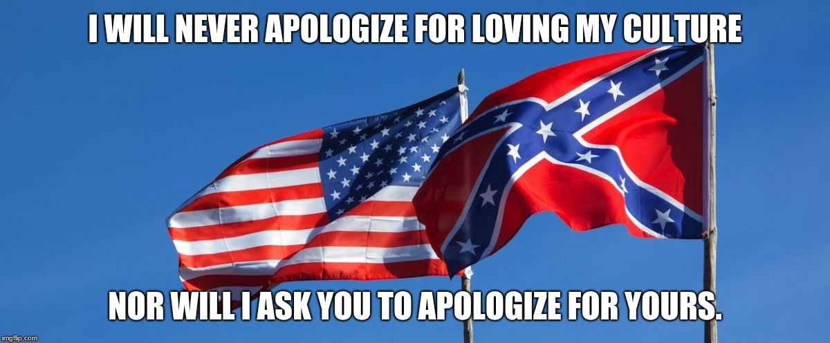 Confederate/American Flag | I WILL NEVER APOLOGIZE FOR LOVING MY CULTURE NOR WILL I ASK YOU TO APOLOGIZE FOR YOURS. | image tagged in confederate/american flag | made w/ Imgflip meme maker