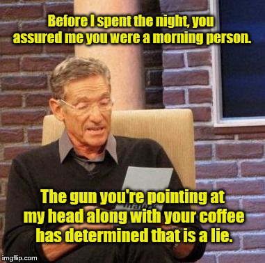 Before I spent the night, you assured me you were a morning person. The gun you're pointing at my head along with your coffee has determined | image tagged in maury | made w/ Imgflip meme maker