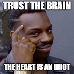 TRUST THE BRAIN THE HEART IS AN IDIOT | image tagged in they can't break your heart if it's already broken | made w/ Imgflip meme maker