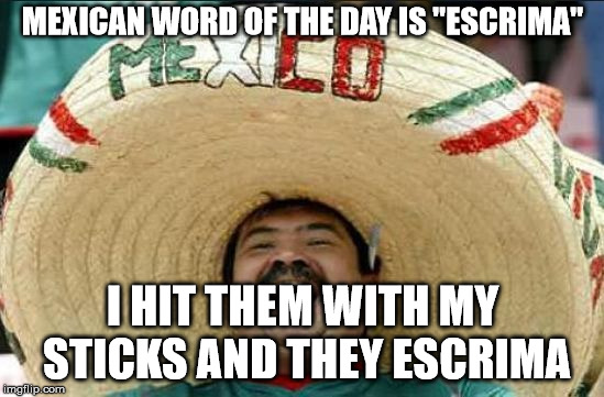 "mexican word of the day | MEXICAN WORD OF THE DAY IS ""ESCRIMA"" I HIT THEM WITH MY STICKS AND THEY ESCRIMA 