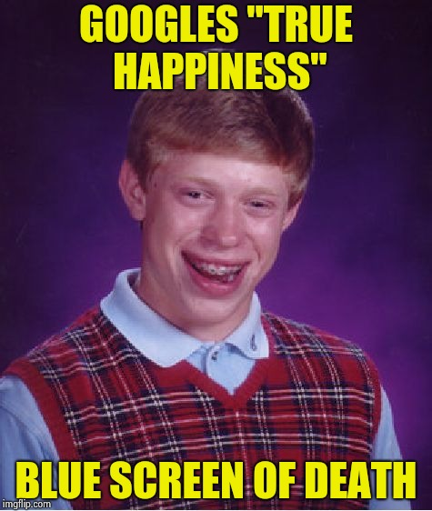 "Goes for the ultimate question , fails | GOOGLES ""TRUE HAPPINESS"" BLUE SCREEN OF DEATH 