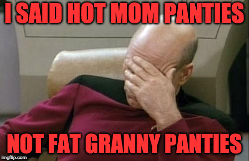 Captain Picard Facepalm Meme | I SAID HOT MOM PANTIES NOT FAT GRANNY PANTIES | image tagged in memes,captain picard facepalm | made w/ Imgflip meme maker