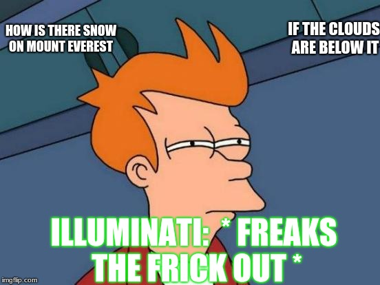 Hmmmm...? | HOW IS THERE SNOW ON MOUNT EVEREST IF THE CLOUDS ARE BELOW IT ILLUMINATI:  * FREAKS THE FRICK OUT * | image tagged in memes,futurama fry | made w/ Imgflip meme maker