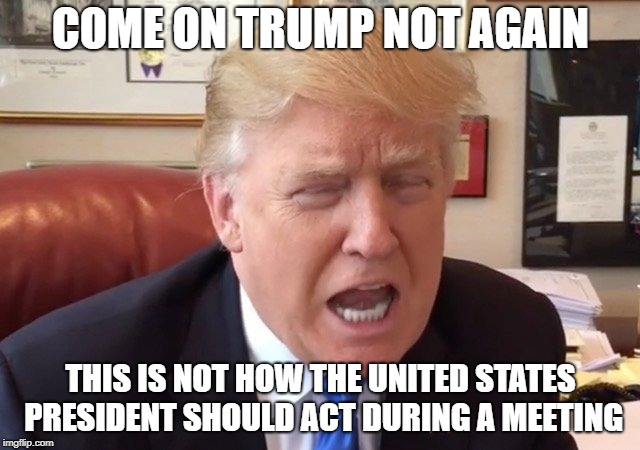 Bawling Trump | COME ON TRUMP NOT AGAIN THIS IS NOT HOW THE UNITED STATES PRESIDENT SHOULD ACT DURING A MEETING | image tagged in trump crying | made w/ Imgflip meme maker