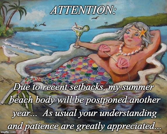 Attention... | ATTENTION: Due to recent setbacks, my summer beach body will be postponed another year...  As usual your understanding and patience are grea | image tagged in setbacks,beach body,summer,postponed,appreciated | made w/ Imgflip meme maker