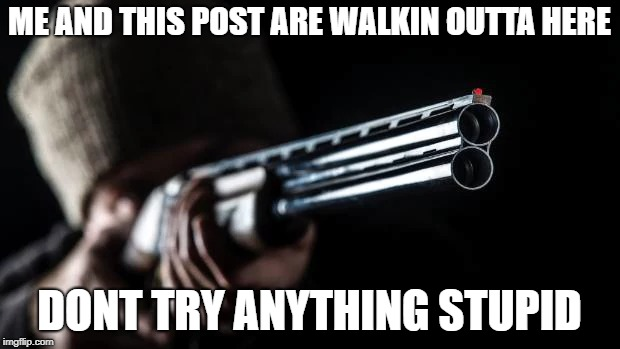 ME AND THIS POST ARE WALKIN OUTTA HERE DONT TRY ANYTHING STUPID | image tagged in stealing posts,memes,guns,posts | made w/ Imgflip meme maker