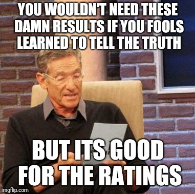 Maury Lie Detector Meme | YOU WOULDN'T NEED THESE DAMN RESULTS IF YOU FOOLS LEARNED TO TELL THE TRUTH BUT ITS GOOD FOR THE RATINGS | image tagged in memes,maury lie detector | made w/ Imgflip meme maker
