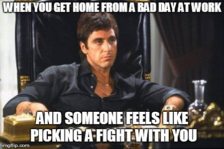 Tony Montana | WHEN YOU GET HOME FROM A BAD DAY AT WORK AND SOMEONE FEELS LIKE PICKING A FIGHT WITH YOU | image tagged in tony montana | made w/ Imgflip meme maker
