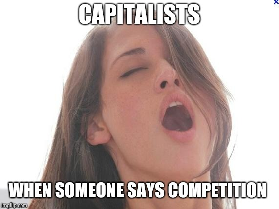 orgasm | CAPITALISTS WHEN SOMEONE SAYS COMPETITION | image tagged in orgasm | made w/ Imgflip meme maker