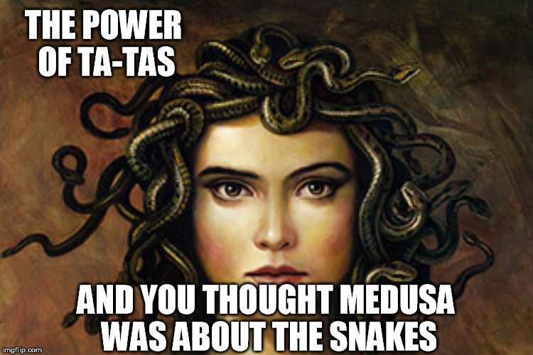 THE POWER OF TA-TAS AND YOU THOUGHT MEDUSA WAS ABOUT THE SNAKES | made w/ Imgflip meme maker