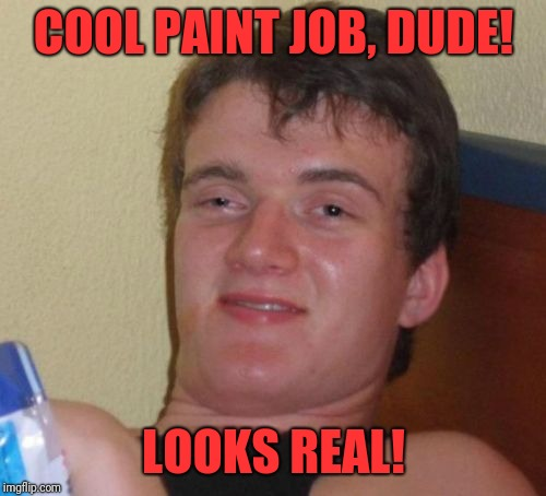 10 Guy Meme | COOL PAINT JOB, DUDE! LOOKS REAL! | image tagged in memes,10 guy | made w/ Imgflip meme maker