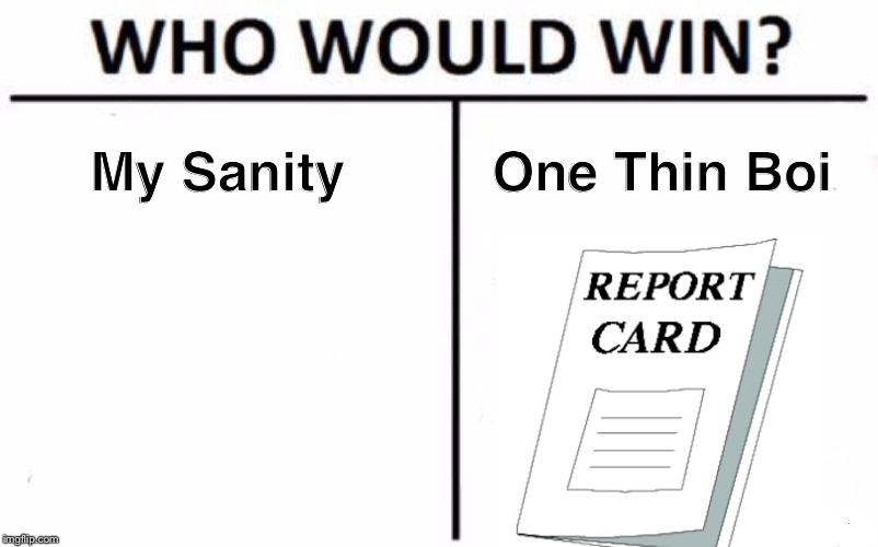 I Am Thoroughly SH#TTING Myself Right Now. *quivers in anxiety* | My Sanity One Thin Boi | image tagged in memes,who would win,report card,so true memes,dank,sanity | made w/ Imgflip meme maker
