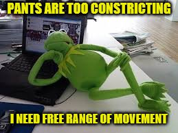 PANTS ARE TOO CONSTRICTING I NEED FREE RANGE OF MOVEMENT | made w/ Imgflip meme maker