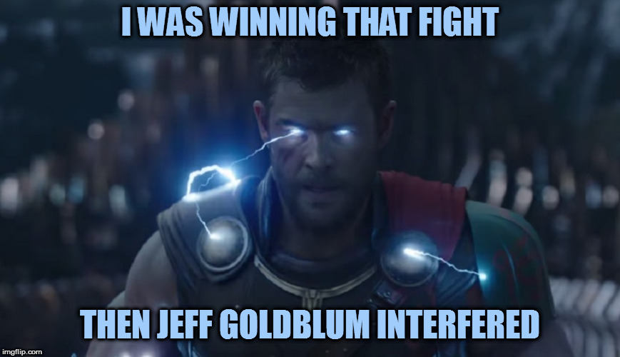I WAS WINNING THAT FIGHT THEN JEFF GOLDBLUM INTERFERED | made w/ Imgflip meme maker