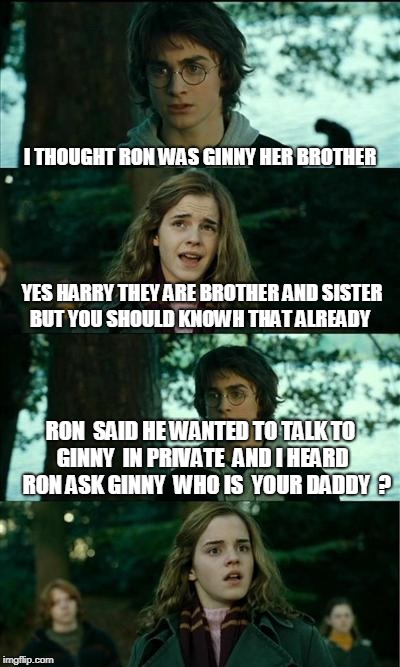 we all knowh  hes not asking who her dad realy is  | I THOUGHT RON WAS GINNY HER BROTHER YES HARRY THEY ARE BROTHER AND SISTER BUT YOU SHOULD KNOWH THAT ALREADY RON  SAID HE WANTED TO TALK TO G | image tagged in memes,horny harry | made w/ Imgflip meme maker