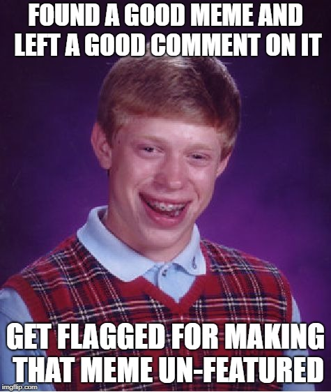 Bad Luck Brian Meme | FOUND A GOOD MEME AND LEFT A GOOD COMMENT ON IT GET FLAGGED FOR MAKING THAT MEME UN-FEATURED | image tagged in memes,bad luck brian | made w/ Imgflip meme maker