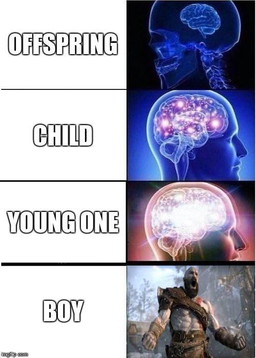 Hmm | OFFSPRING CHILD YOUNG ONE BOY | image tagged in memes,expanding brain | made w/ Imgflip meme maker