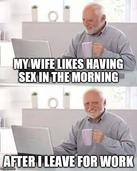 Hide the Pain Harold Meme | MY WIFE LIKES HAVING SEX IN THE MORNING AFTER I LEAVE FOR WORK | image tagged in memes,hide the pain harold | made w/ Imgflip meme maker