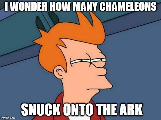 Futurama Fry Meme | I WONDER HOW MANY CHAMELEONS SNUCK ONTO THE ARK | image tagged in memes,futurama fry | made w/ Imgflip meme maker