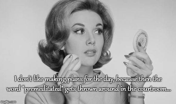 "Don't like making plans... | I don't like making plans for the day, because then the word ""premeditated"" gets thrown around in the courtroom... 