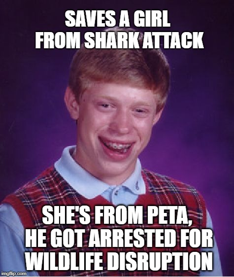 Shark attack | SAVES A GIRL FROM SHARK ATTACK SHE'S FROM PETA, HE GOT ARRESTED FOR WILDLIFE DISRUPTION | image tagged in memes,bad luck brian,shark attack,peta,save the earth,wildlife | made w/ Imgflip meme maker