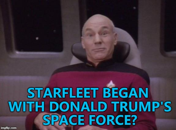 It all makes sense now... :) | STARFLEET BEGAN WITH DONALD TRUMP'S SPACE FORCE? | image tagged in picard surprised,memes,space force,starfleet,donald trump | made w/ Imgflip meme maker