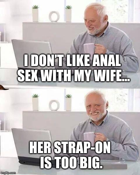Hide the Pain Harold Meme | I DON'T LIKE ANAL SEX WITH MY WIFE... HER STRAP-ON IS TOO BIG. | image tagged in memes,hide the pain harold,scumbag | made w/ Imgflip meme maker