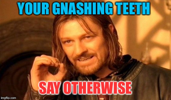 One Does Not Simply Meme | YOUR GNASHING TEETH SAY OTHERWISE | image tagged in memes,one does not simply | made w/ Imgflip meme maker