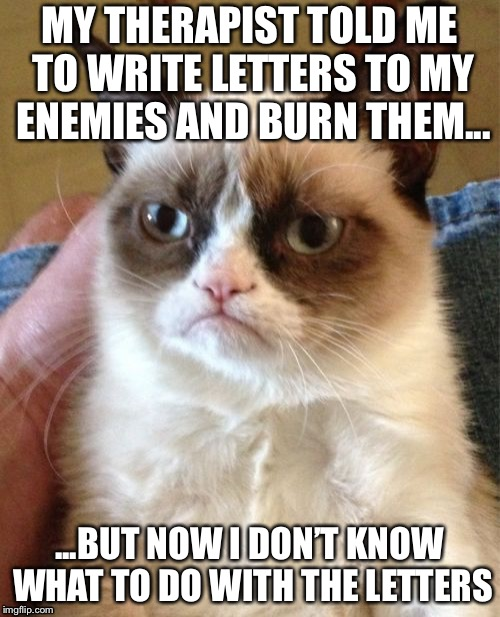 Grumpy Cat Meme | MY THERAPIST TOLD ME TO WRITE LETTERS TO MY ENEMIES AND BURN THEM... ...BUT NOW I DON'T KNOW WHAT TO DO WITH THE LETTERS | image tagged in memes,grumpy cat | made w/ Imgflip meme maker