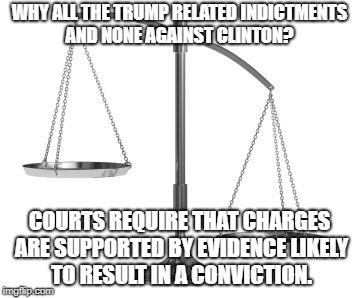 scales of justice | WHY ALL THE TRUMP RELATED INDICTMENTS AND NONE AGAINST CLINTON? COURTS REQUIRE THAT CHARGES ARE SUPPORTED BY EVIDENCE LIKELY TO RESULT IN A  | image tagged in scales of justice | made w/ Imgflip meme maker