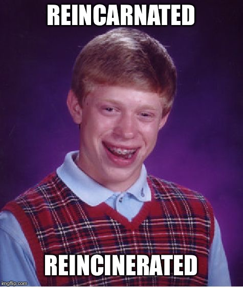Bad Luck Brian Meme | REINCARNATED REINCINERATED | image tagged in memes,bad luck brian | made w/ Imgflip meme maker