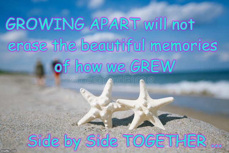 Two Stars Growing Together Apart  | GROWING APART will not Side by Side TOGETHER ... erase the beautiful memories of how we GREW | image tagged in growing apart,growing together,two stars | made w/ Imgflip meme maker