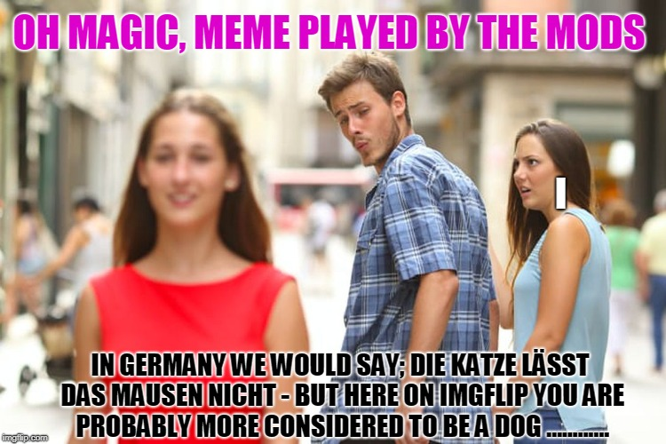 Distracted Boyfriend Meme | IN GERMANY WE WOULD SAY; DIE KATZE LÄSST DAS MAUSEN NICHT - BUT HERE ON IMGFLIP YOU ARE PROBABLY MORE CONSIDERED TO BE A DOG ............ I  | image tagged in memes,distracted boyfriend | made w/ Imgflip meme maker