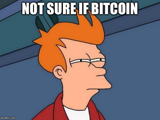 Futurama Fry Meme | NOT SURE IF BITCOIN | image tagged in memes,futurama fry | made w/ Imgflip meme maker