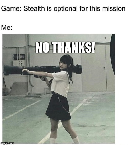 NO THANKS! | image tagged in funny,nope,no stealth | made w/ Imgflip meme maker