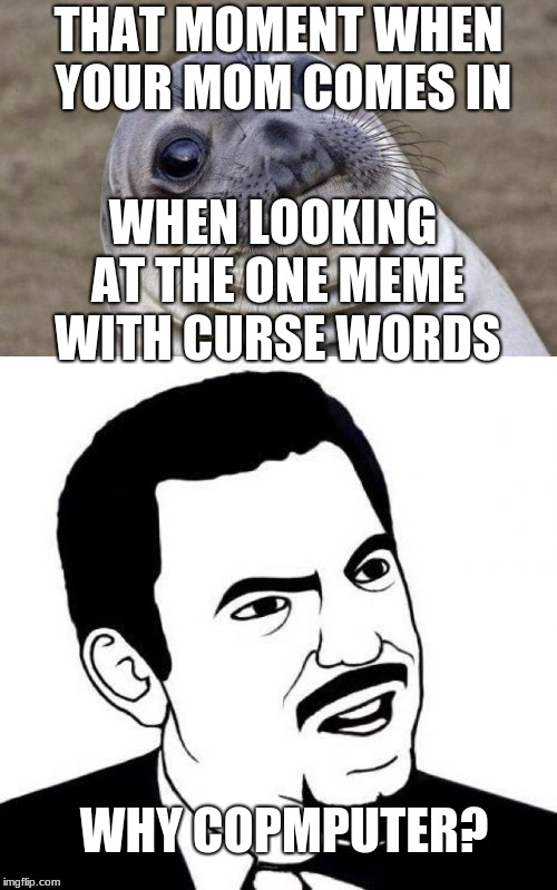 THAT MOMENT WHEN YOUR MOM COMES IN WHEN LOOKING AT THE ONE MEME WITH CURSE WORDS WHY COPMPUTER? | image tagged in funny,awkward moment sealion,why,computer | made w/ Imgflip meme maker
