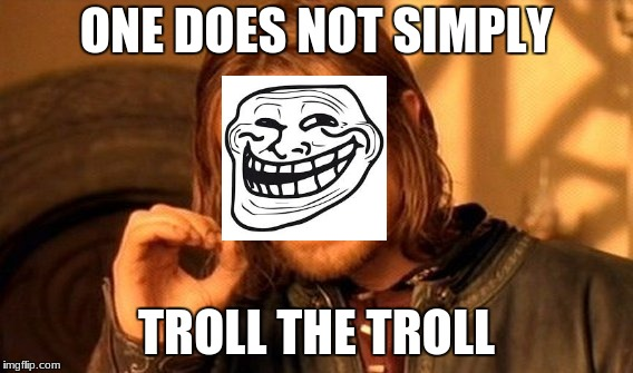 One Does Not Simply Meme | ONE DOES NOT SIMPLY TROLL THE TROLL | image tagged in memes,one does not simply | made w/ Imgflip meme maker