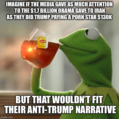 Double Standards  | IMAGINE IF THE MEDIA GAVE AS MUCH ATTENTION TO THE $1.7 BILLION OBAMA GAVE TO IRAN AS THEY DID TRUMP PAYING A PORN STAR $130K BUT THAT WOULD | image tagged in memes,but thats none of my business,kermit the frog | made w/ Imgflip meme maker