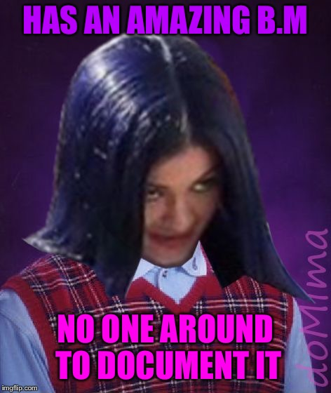 Bad Luck Mima | HAS AN AMAZING B.M NO ONE AROUND TO DOCUMENT IT | image tagged in bad luck mima | made w/ Imgflip meme maker