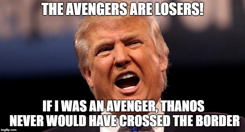 Avengers Are Losers | THE AVENGERS ARE LOSERS! IF I WAS AN AVENGER, THANOS NEVER WOULD HAVE CROSSED THE BORDER | image tagged in trump angry,avengers,thanos,trump,border,memes | made w/ Imgflip meme maker