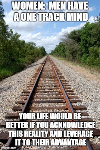 WOMEN:  MEN HAVE A ONE TRACK MIND YOUR LIFE WOULD BE BETTER IF YOU ACKNOWLEDGE THIS REALITY AND LEVERAGE IT TO THEIR ADVANTAGE | image tagged in railroad | made w/ Imgflip meme maker