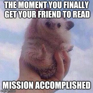 THE MOMENT YOU FINALLY GET YOUR FRIEND TO READ MISSION ACCOMPLISHED | image tagged in encouraging hedgehog | made w/ Imgflip meme maker