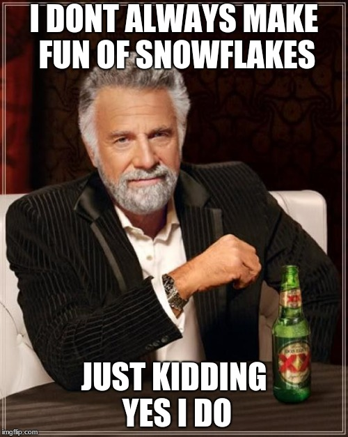 The Most Interesting Man In The World Meme | I DONT ALWAYS MAKE FUN OF SNOWFLAKES JUST KIDDING YES I DO | image tagged in memes,the most interesting man in the world,trump,libtard,millennials,snowflake | made w/ Imgflip meme maker