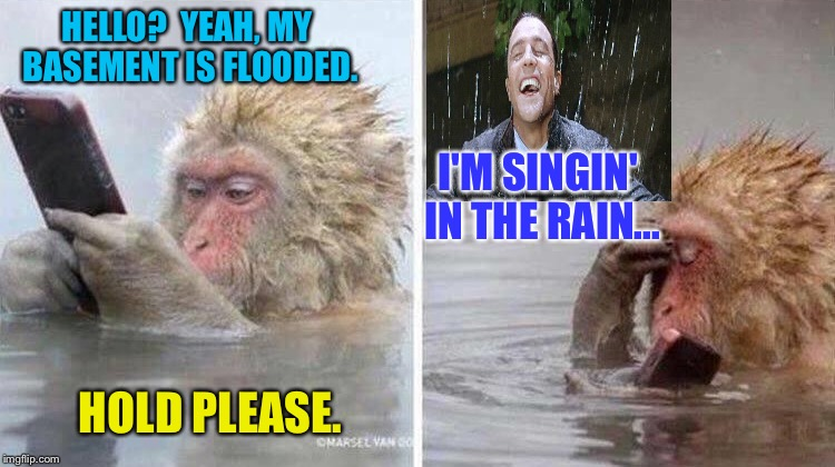 Better than elevator music. |  HELLO?  YEAH, MY BASEMENT IS FLOODED. I'M SINGIN' IN THE RAIN... HOLD PLEASE. | image tagged in gene kelly,monkey,flood,memes,funny | made w/ Imgflip meme maker