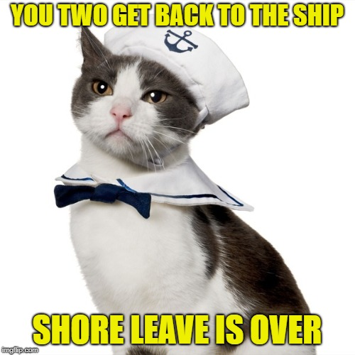 YOU TWO GET BACK TO THE SHIP SHORE LEAVE IS OVER | made w/ Imgflip meme maker
