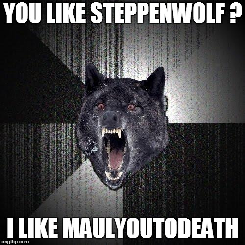 Insanity Wolf | YOU LIKE STEPPENWOLF ? I LIKE MAULYOUTODEATH | image tagged in memes,insanity wolf | made w/ Imgflip meme maker