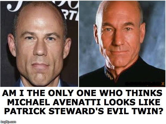 Stormy Daniels' Doppleganger Lawyer | -------- AM I THE ONLY ONE WHO THINKS MICHAEL AVENATTI LOOKS LIKE PATRICK STEWARD'S EVIL TWIN? | image tagged in stormy daniels,patrick stewart,lawyers,twins,scandal | made w/ Imgflip meme maker