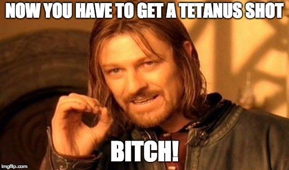 One Does Not Simply Meme | NOW YOU HAVE TO GET A TETANUS SHOT B**CH! | image tagged in memes,one does not simply | made w/ Imgflip meme maker