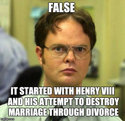 FALSE IT STARTED WITH HENRY VIII AND HIS ATTEMPT TO DESTROY MARRIAGE THROUGH DIVORCE | made w/ Imgflip meme maker